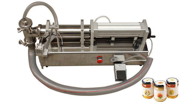 Polavtomatski stroj za polnjenje tekočega medu z visoko viskoznostjo